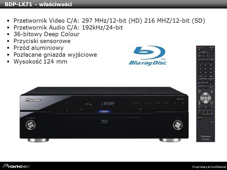 Proprietary & Confidential BDP-LX71 - właściwości Przetwornik Video C/A: 297 MHz/12-bit (HD) 216 MHZ/12-bit (SD) Przetwornik Audio C/A: 192kHz/24-bit