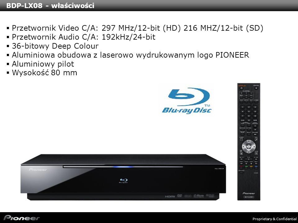 Proprietary & Confidential BDP-LX08 - właściwości Przetwornik Video C/A: 297 MHz/12-bit (HD) 216 MHZ/12-bit (SD) Przetwornik Audio C/A: 192kHz/24-bit