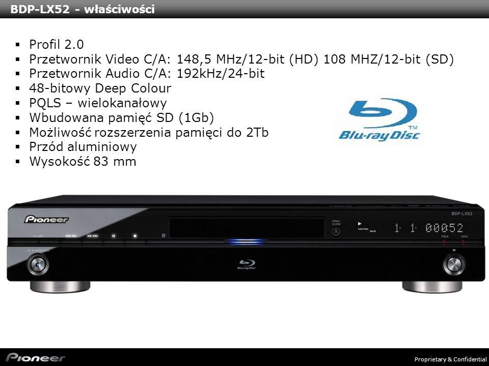 Proprietary & Confidential BDP-320 – właściwości Profil 2.0 Przetwornik Video C/A: 148,5 MHz/12-bit (HD) 108 MHZ/12-bit (SD) Przetwornik Audio C/A: 192kHz/24-bit 48-bitowy Deep Colour PQLS – 2 kanałowy Wbudowana pamięć SD (1Gb) Możliwość rozszerzenia pamięci do 2Tb Wysokość 75 mm