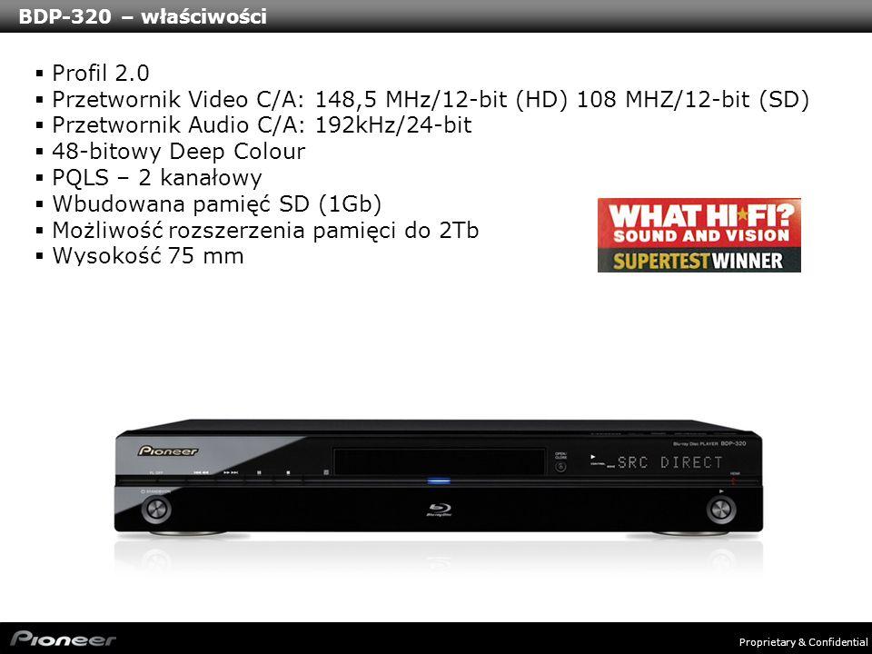 Proprietary & Confidential BDP-120 - właściwości Profil 2.0 Przetwornik Video C/A: 148,5 MHz/12-bit (HD) 108 MHZ/12-bit (SD) Przetwornik Audio C/A: 192kHz/24-bit 36-bitowy Deep Colour Szybki start Dołączona zewnętrzna pamięć (1Gb) Aktualizacja oprogramowania przez USB Wysokość 58 mm