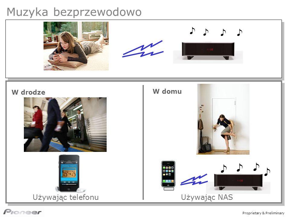 Proprietary & Preliminary Muzyka bezprzewodowo W drodze W domu Używając telefonuUżywając NAS