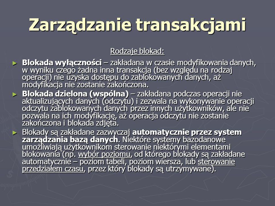 Zarządzanie transakcjami Rodzaje blokad: Blokada wyłączności – zakładana w czasie modyfikowania danych, w wyniku czego żadna inna transakcja (bez wzgl