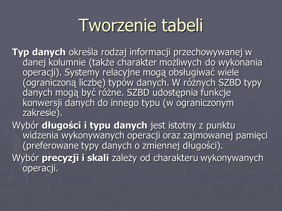 Tworzenie tabeli Typ danych określa rodzaj informacji przechowywanej w danej kolumnie (także charakter możliwych do wykonania operacji). Systemy relac