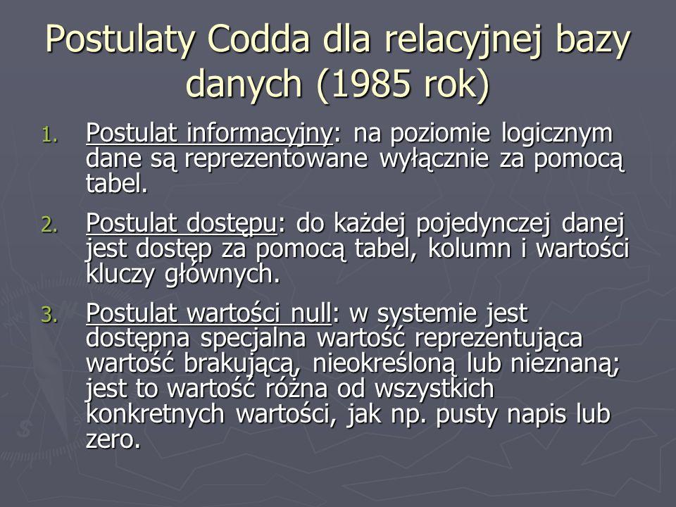 Postulaty Codda dla relacyjnej bazy danych (1985 rok) 1. Postulat informacyjny: na poziomie logicznym dane są reprezentowane wyłącznie za pomocą tabel