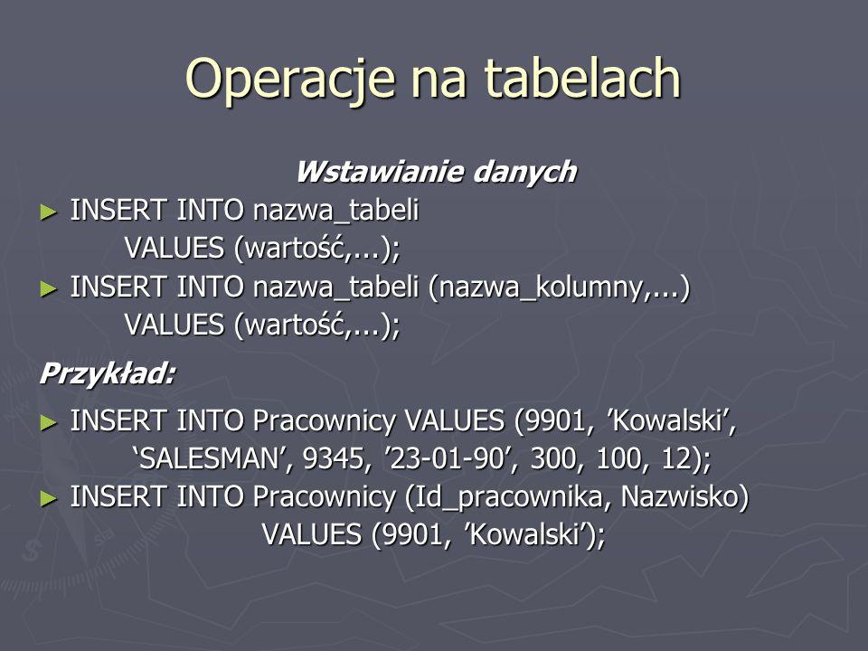 Operacje na tabelach Wstawianie danych INSERT INTO nazwa_tabeli INSERT INTO nazwa_tabeli VALUES (wartość,...); INSERT INTO nazwa_tabeli (nazwa_kolumny