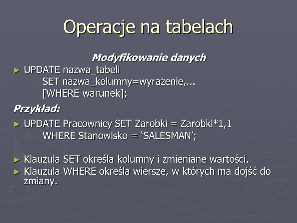 Operacje na tabelach Modyfikowanie danych UPDATE nazwa_tabeli UPDATE nazwa_tabeli SET nazwa_kolumny=wyrażenie,... [WHERE warunek]; Przykład: UPDATE Pr