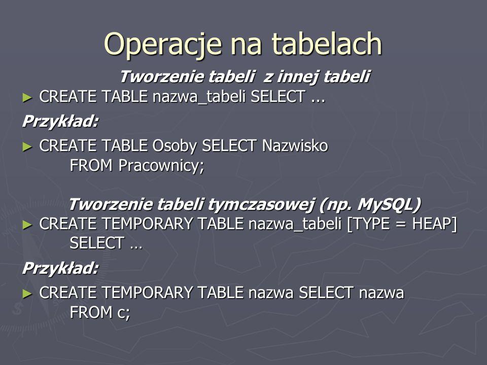 Operacje na tabelach Tworzenie tabeli z innej tabeli CREATE TABLE nazwa_tabeli SELECT... CREATE TABLE nazwa_tabeli SELECT...Przykład: CREATE TABLE Oso