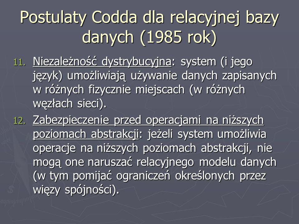 Więzy spójności Różne SZBD udostępniają zazwyczaj następujące więzy spójności: PRIMARY KEY – oznacza kolumnę (dodawane przy definicji kolumny) lub grupę kolumn (deklaracja na poziomie tabeli PRIMARY KEY (kol1, kol2,...)) stanowiących klucz główny tabeli.
