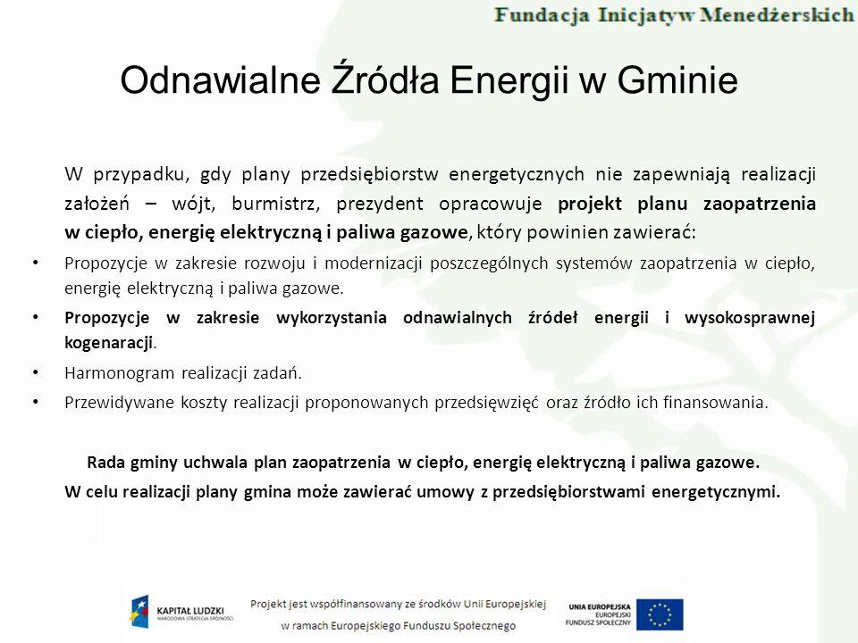 Odnawialne Źródła Energii w Gminie W przypadku, gdy plany przedsiębiorstw energetycznych nie zapewniają realizacji założeń – wójt, burmistrz, prezyden