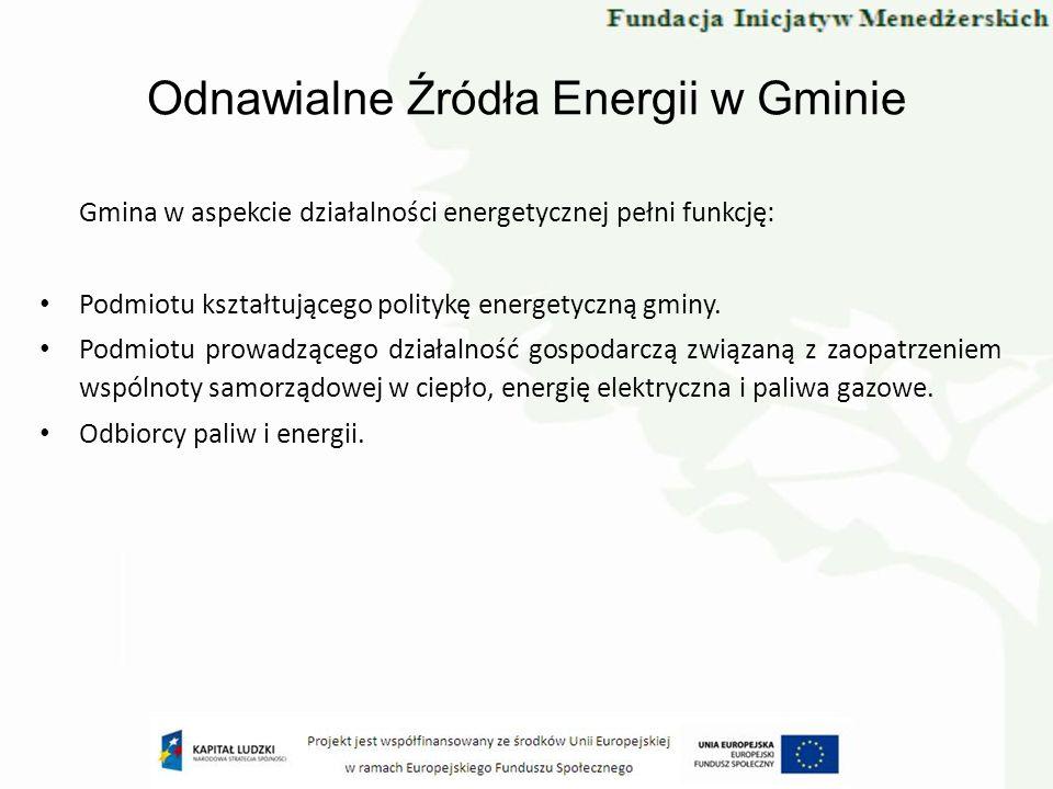 Odnawialne Źródła Energii w Gminie Gmina w aspekcie działalności energetycznej pełni funkcję: Podmiotu kształtującego politykę energetyczną gminy. Pod