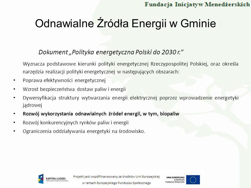 Odnawialne Źródła Energii w Gminie Dokument Polityka energetyczna Polski do 2030 r. Wyznacza podstawowe kierunki polityki energetycznej Rzeczypospolit
