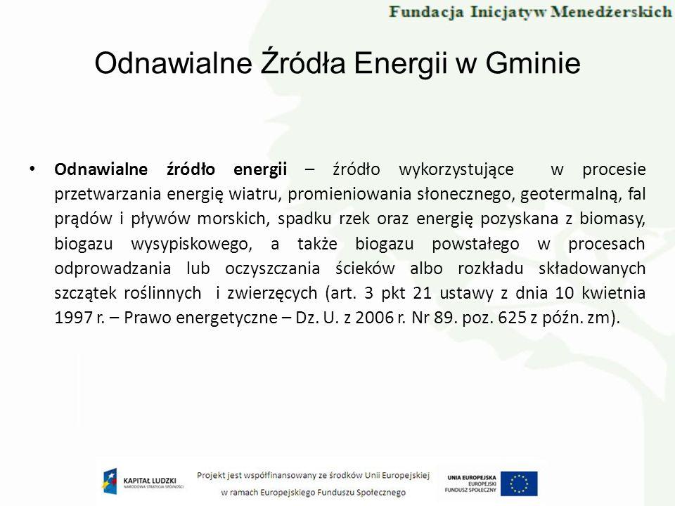 Odnawialne Źródła Energii w Gminie Odnawialne źródło energii – źródło wykorzystujące w procesie przetwarzania energię wiatru, promieniowania słoneczne