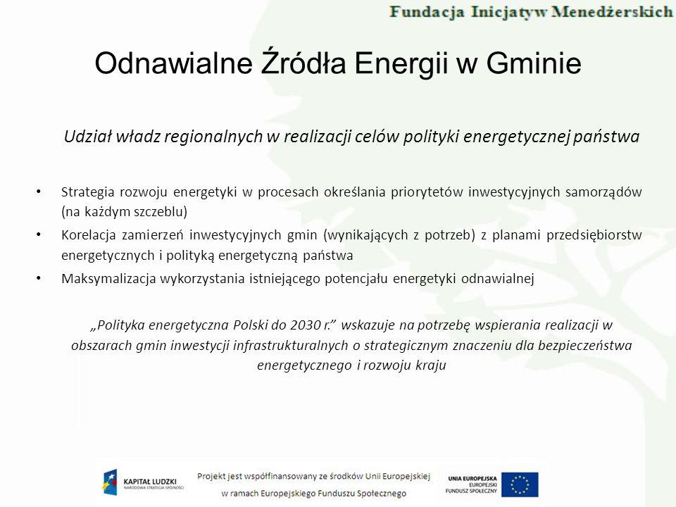 Odnawialne Źródła Energii w Gminie Udział władz regionalnych w realizacji celów polityki energetycznej państwa Strategia rozwoju energetyki w procesac