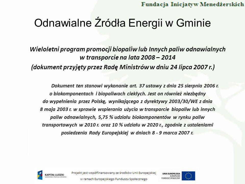 Odnawialne Źródła Energii w Gminie Wieloletni program promocji biopaliw lub Innych paliw odnawialnych w transporcie na lata 2008 – 2014 (dokument przy