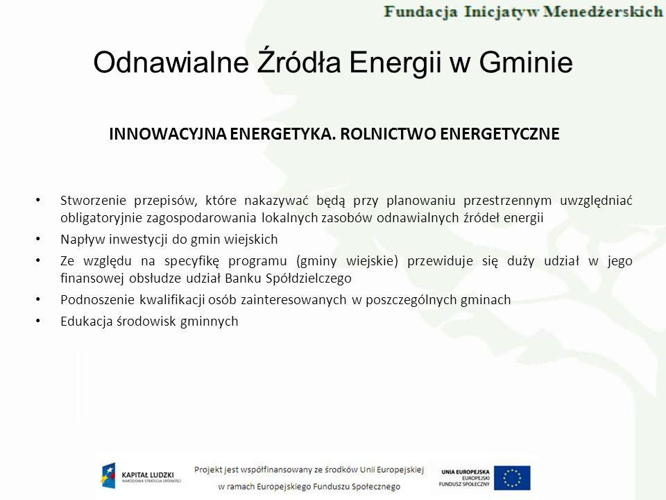 Odnawialne Źródła Energii w Gminie INNOWACYJNA ENERGETYKA. ROLNICTWO ENERGETYCZNE Stworzenie przepisów, które nakazywać będą przy planowaniu przestrze