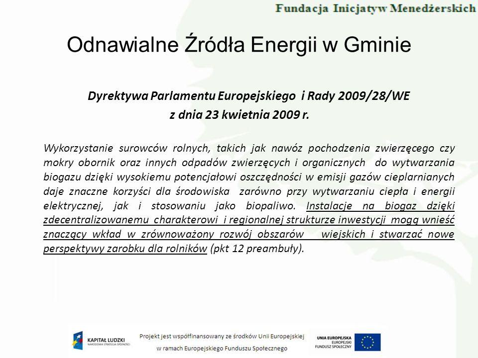 Odnawialne Źródła Energii w Gminie Dyrektywa Parlamentu Europejskiego i Rady 2009/28/WE z dnia 23 kwietnia 2009 r. Wykorzystanie surowców rolnych, tak