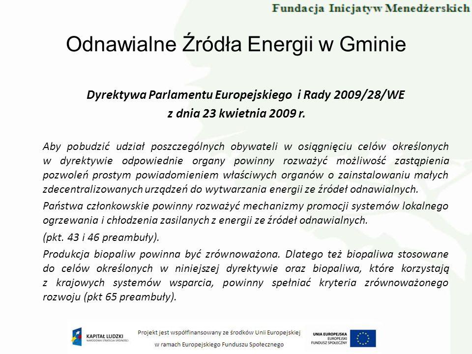 Odnawialne Źródła Energii w Gminie Dyrektywa Parlamentu Europejskiego i Rady 2009/28/WE z dnia 23 kwietnia 2009 r. Aby pobudzić udział poszczególnych