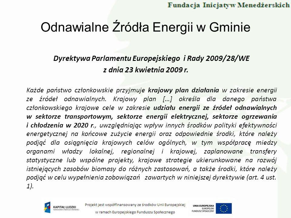 Odnawialne Źródła Energii w Gminie Dyrektywa Parlamentu Europejskiego i Rady 2009/28/WE z dnia 23 kwietnia 2009 r. Każde państwo członkowskie przyjmuj