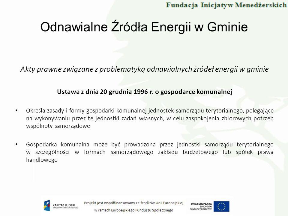 Odnawialne Źródła Energii w Gminie Akty prawne związane z problematyką odnawialnych źródeł energii w gminie Ustawa z dnia 20 grudnia 1996 r. o gospoda