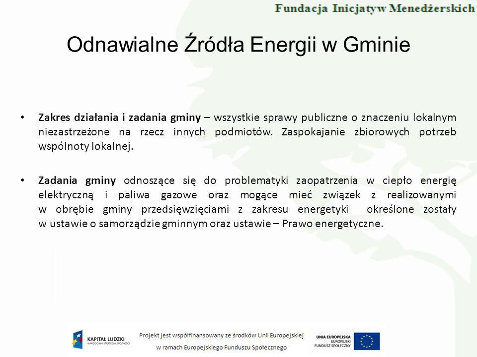 Odnawialne Źródła Energii w Gminie Zakres działania i zadania gminy – wszystkie sprawy publiczne o znaczeniu lokalnym niezastrzeżone na rzecz innych p