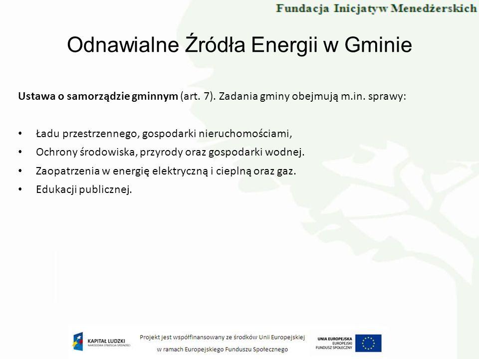 Odnawialne Źródła Energii w Gminie Udział władz regionalnych w realizacji celów polityki energetycznej państwa Strategia rozwoju energetyki w procesach określania priorytetów inwestycyjnych samorządów (na każdym szczeblu) Korelacja zamierzeń inwestycyjnych gmin (wynikających z potrzeb) z planami przedsiębiorstw energetycznych i polityką energetyczną państwa Maksymalizacja wykorzystania istniejącego potencjału energetyki odnawialnej Polityka energetyczna Polski do 2030 r.