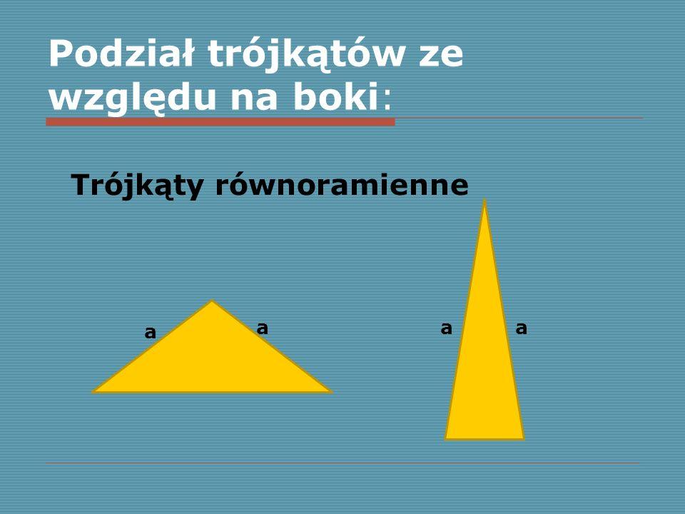 Podział trójkątów ze względu na boki: Trójkąty równoramienne a aaa