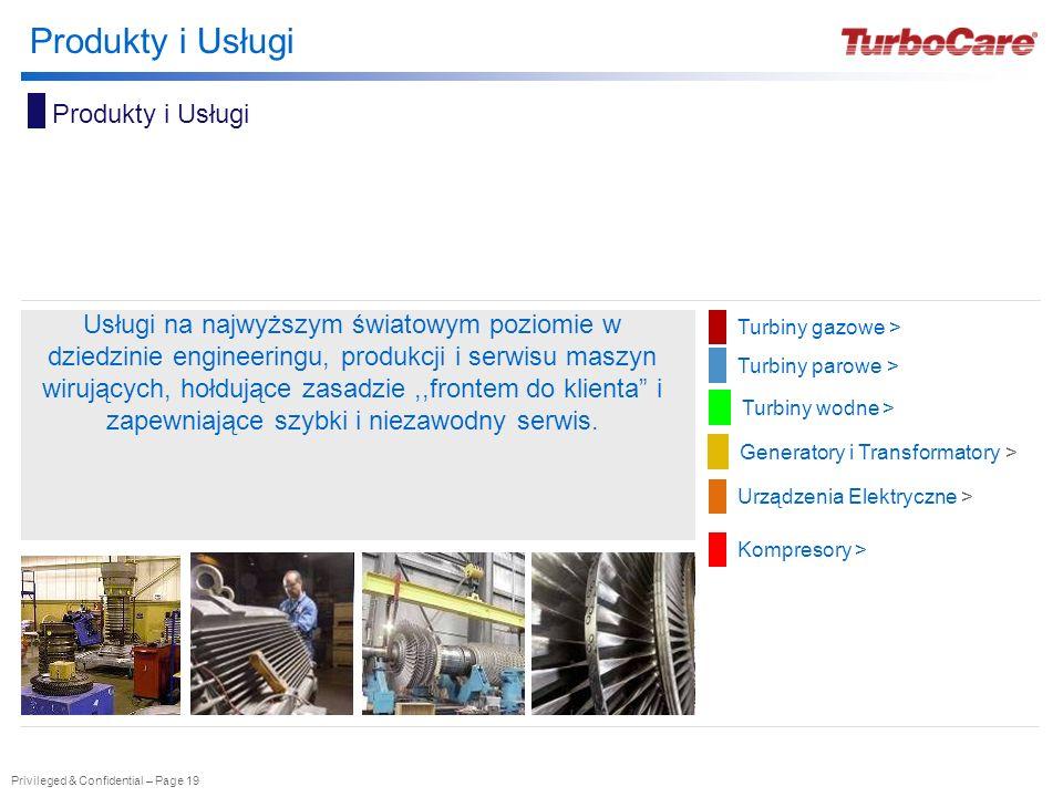 Privileged & Confidential – Page 19 Produkty i Usługi Turbiny gazowe > Turbiny parowe > Generatory i Transformatory > Urządzenia Elektryczne > Usługi