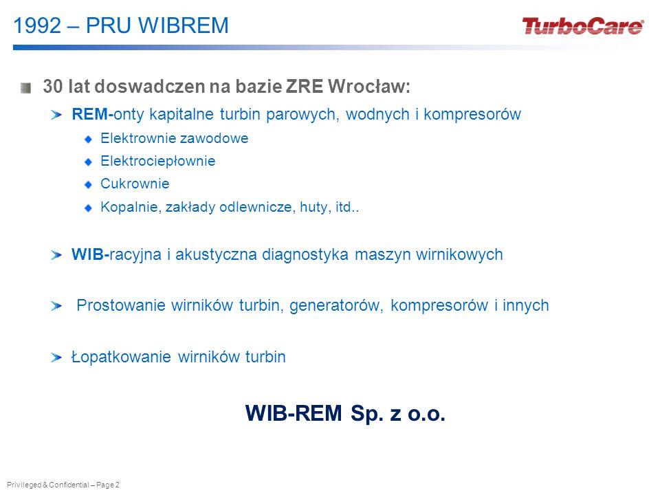 Privileged & Confidential – Page 2 1992 – PRU WIBREM 30 lat doswadczen na bazie ZRE Wrocław: REM-onty kapitalne turbin parowych, wodnych i kompresorów