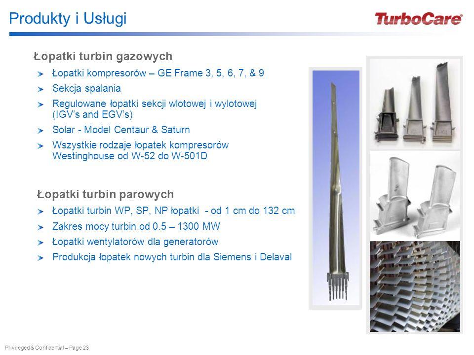 Privileged & Confidential – Page 23 Łopatki turbin gazowych Łopatki kompresorów – GE Frame 3, 5, 6, 7, & 9 Sekcja spalania Regulowane łopatki sekcji w