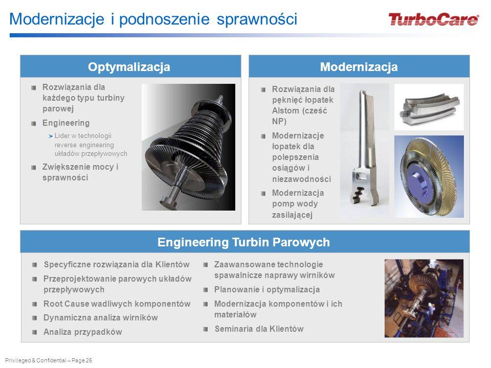 Privileged & Confidential – Page 25 Modernizacje i podnoszenie sprawności Optymalizacja Rozwiązania dla każdego typu turbiny parowej Engineering Lider