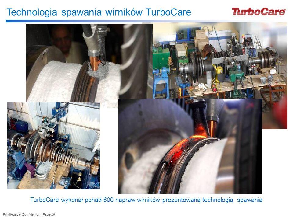 Privileged & Confidential – Page 28 Technologia spawania wirników TurboCare TurboCare wykonał ponad 600 napraw wirników prezentowaną technologią spawa