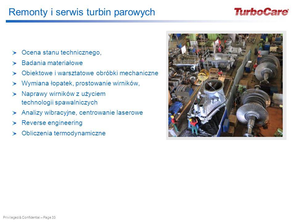 Privileged & Confidential – Page 33 Remonty i serwis turbin parowych Ocena stanu technicznego, Badania materiałowe Obiektowe i warsztatowe obróbki mec