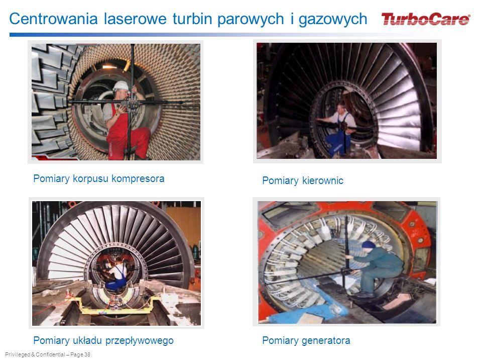 Privileged & Confidential – Page 38 Centrowania laserowe turbin parowych i gazowych Pomiary korpusu kompresora Pomiary kierownic Pomiary układu przepł