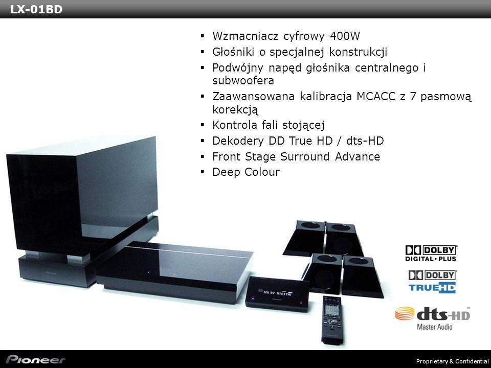 Proprietary & Confidential Wzmacniacz cyfrowy 400W Głośniki o specjalnej konstrukcji Podwójny napęd głośnika centralnego i subwoofera Zaawansowana kalibracja MCACC z 7 pasmową korekcją Kontrola fali stojącej Dekodery DD True HD / dts-HD Front Stage Surround Advance Deep Colour LX-01BD