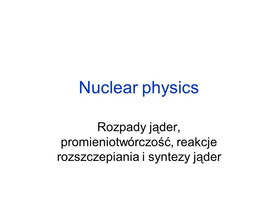 Reakcja łańcuchowa Neutrony termiczne Kontrolowana reakcja łańcuchowa Lawinowa reakcja łańcuchowa Masa krytyczna Bomba atomowa i reaktor jądrowy
