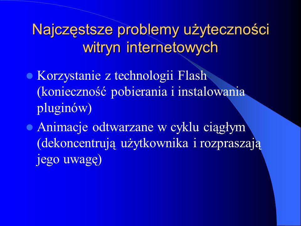Najczęstsze problemy użyteczności witryn internetowych Korzystanie z technologii Flash (konieczność pobierania i instalowania pluginów) Animacje odtwa