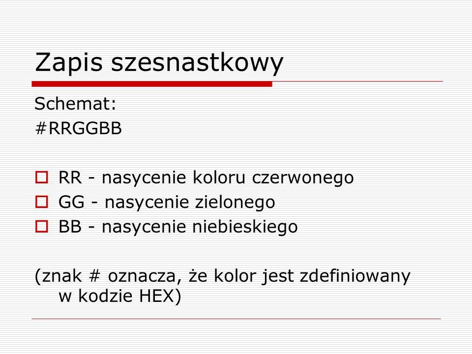 Zapis szesnastkowy Schemat: #RRGGBB RR - nasycenie koloru czerwonego GG - nasycenie zielonego BB - nasycenie niebieskiego (znak # oznacza, że kolor je