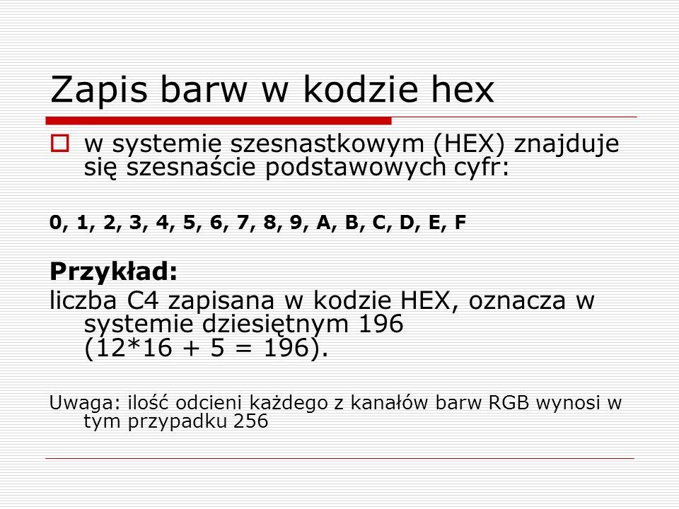 Zapis barw w kodzie hex w systemie szesnastkowym (HEX) znajduje się szesnaście podstawowych cyfr: 0, 1, 2, 3, 4, 5, 6, 7, 8, 9, A, B, C, D, E, F Przyk