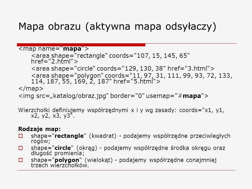 Mapa obrazu (aktywna mapa odsyłaczy) Wierzchołki definiujemy współrzędnymi x i y wg zasady: coords=