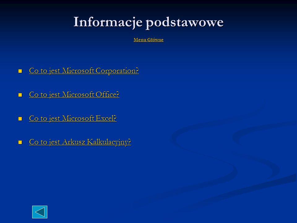 Informacje podstawowe Menu Główne Menu Główne Menu Główne Co to jest Microsoft Corporation.