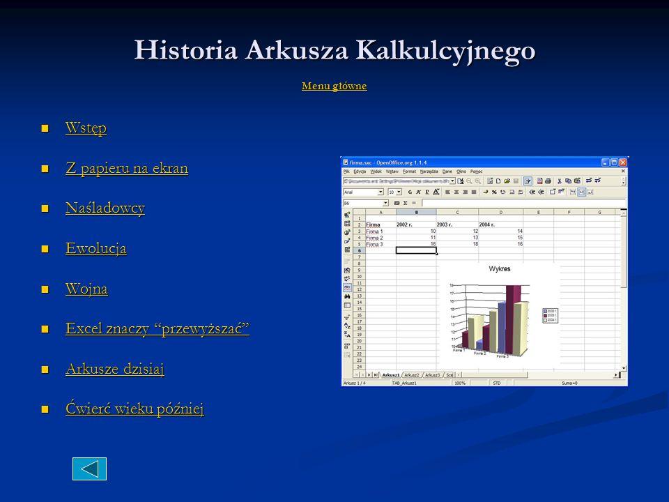 Historia Arkusza Kalkulcyjnego Menu główne Menu główne Menu główne Wstęp Wstęp Wstęp Z papieru na ekran Z papieru na ekran Z papieru na ekran Z papieru na ekran Naśladowcy Naśladowcy Naśladowcy Ewolucja Ewolucja Ewolucja Wojna Wojna Wojna Excel znaczy przewyższać Excel znaczy przewyższać Excel znaczy przewyższać Excel znaczy przewyższać Arkusze dzisiaj Arkusze dzisiaj Arkusze dzisiaj Arkusze dzisiaj Ćwierć wieku później Ćwierć wieku później Ćwierć wieku później Ćwierć wieku później