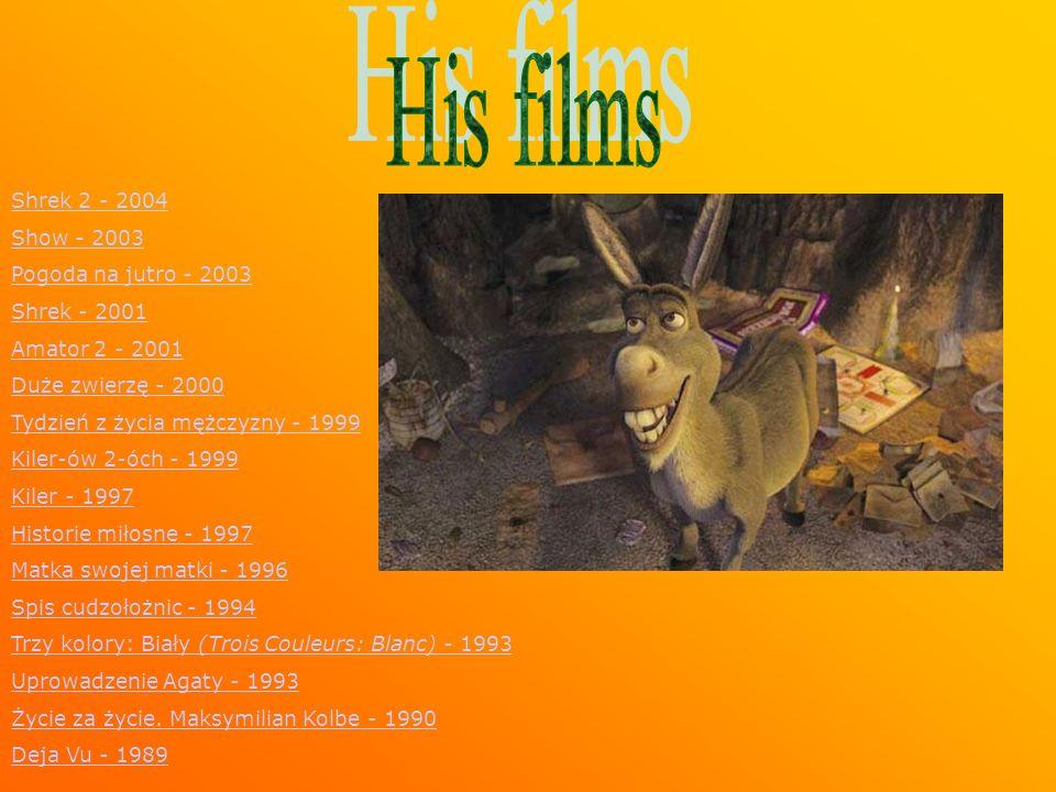 Shrek 2 - 2004 Show - 2003 Pogoda na jutro - 2003 Shrek - 2001 Amator 2 - 2001 Duże zwierzę - 2000 Tydzień z życia mężczyzny - 1999 Kiler-ów 2-óch - 1999 Kiler - 1997 Historie miłosne - 1997 Matka swojej matki - 1996 Spis cudzołożnic - 1994 Trzy kolory: Biały (Trois Couleurs: Blanc) - 1993Trzy kolory: Biały (Trois Couleurs: Blanc) - 1993 Uprowadzenie Agaty - 1993 Życie za życie.