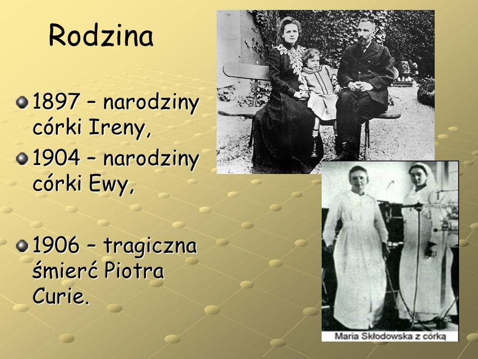 1897 – narodziny córki Ireny, 1904 – narodziny córki Ewy, 1906 – tragiczna śmierć Piotra Curie. Rodzina