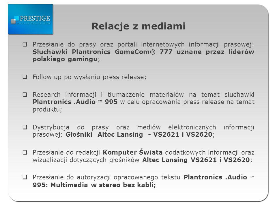 Relacje z mediami Przesłanie do prasy oraz portali internetowych informacji prasowej: Słuchawki Plantronics GameCom® 777 uznane przez liderów polskieg
