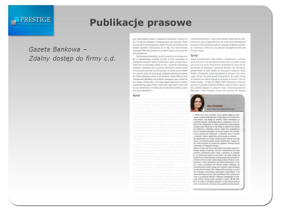 Publikacje prasowe Gazeta Bankowa – Zdalny dostęp do firmy c.d.
