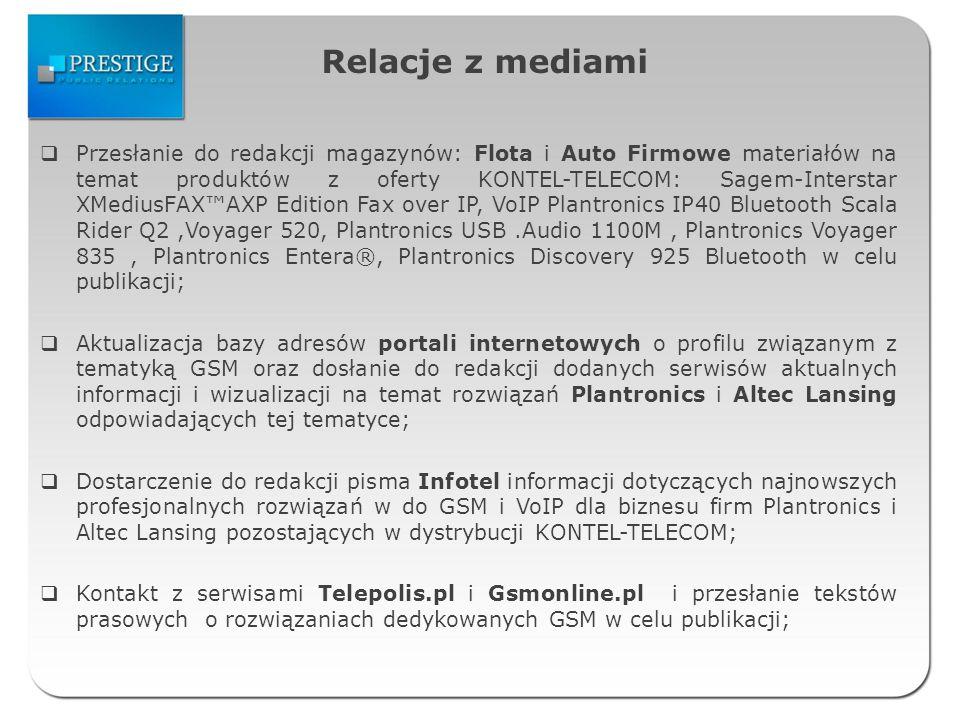 Relacje z mediami Tłumaczenie angielskich tekstów dotyczących telefonu Konftel 300W do sporządzenia informacji prasowej na ten temat; Koordynacja wypożyczenia do pisma Mobility głośników Altec Lansing VS2621 i VS2620 do testu; Przesłanie do redakcji Foto Smart dodatkowych informacji na temat słuchawek Altec Lansing BackBeat 903 i Altec Lansing BackBeat 906 na potrzeby publikacji; Nawiązanie współpracy z serwisem TechWorks i przesłanie najnowszych informacji prasowych na temat produktów z dystrybucji KONTEL-TELECOM; Zamieszczanie materiałów prasowych dla mediów w Biurze Prasowym na stronie internetowej KONTEL-TELECOM; Nawiązanie współpracy z nowym na polskim rynku lifestylowym pismem T3 prezentującym m.in.