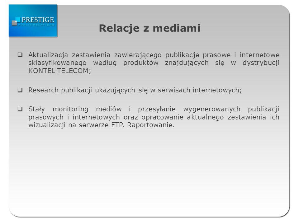 Relacje z mediami Aktualizacja zestawienia zawierającego publikacje prasowe i internetowe sklasyfikowanego według produktów znajdujących się w dystrybucji KONTEL-TELECOM; Research publikacji ukazujących się w serwisach internetowych; Stały monitoring mediów i przesyłanie wygenerowanych publikacji prasowych i internetowych oraz opracowanie aktualnego zestawienia ich wizualizacji na serwerze FTP.