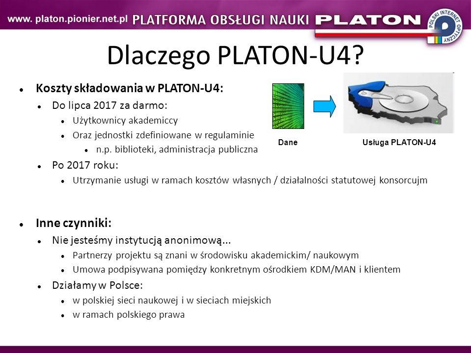 Koszty składowania w PLATON-U4: Do lipca 2017 za darmo: Użytkownicy akademiccy Oraz jednostki zdefiniowane w regulaminie n.p. biblioteki, administracj