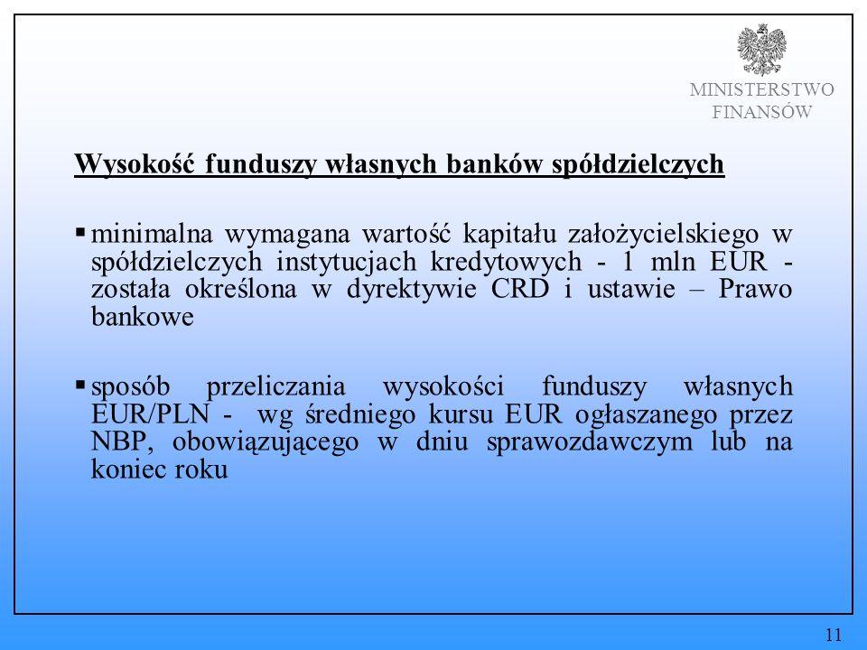 MINISTERSTWO FINANSÓW Wysokość funduszy własnych banków spółdzielczych minimalna wymagana wartość kapitału założycielskiego w spółdzielczych instytucjach kredytowych - 1 mln EUR - została określona w dyrektywie CRD i ustawie – Prawo bankowe sposób przeliczania wysokości funduszy własnych EUR/PLN - wg średniego kursu EUR ogłaszanego przez NBP, obowiązującego w dniu sprawozdawczym lub na koniec roku 11