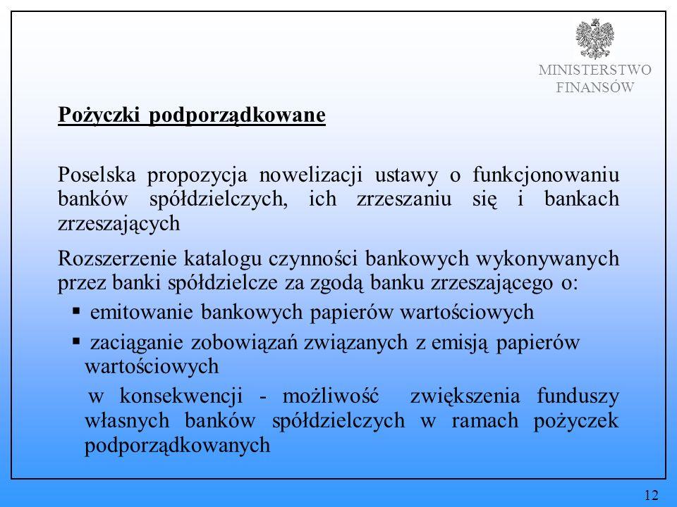 MINISTERSTWO FINANSÓW Pożyczki podporządkowane Poselska propozycja nowelizacji ustawy o funkcjonowaniu banków spółdzielczych, ich zrzeszaniu się i bankach zrzeszających Rozszerzenie katalogu czynności bankowych wykonywanych przez banki spółdzielcze za zgodą banku zrzeszającego o: emitowanie bankowych papierów wartościowych zaciąganie zobowiązań związanych z emisją papierów wartościowych w konsekwencji - możliwość zwiększenia funduszy własnych banków spółdzielczych w ramach pożyczek podporządkowanych 12